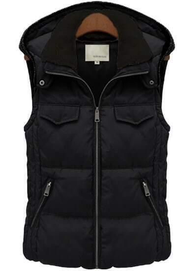 Black Hooded Sleeveless Slim Pockets Coat