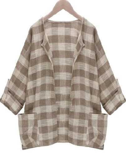 Apricot Long Sleeve Plaid Pockets Coat