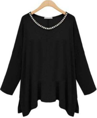 Black Long Sleeve Asymmetrical Rhinestone T-Shirt