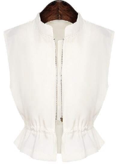 White Stand Collar Sleeveless Zipper Top
