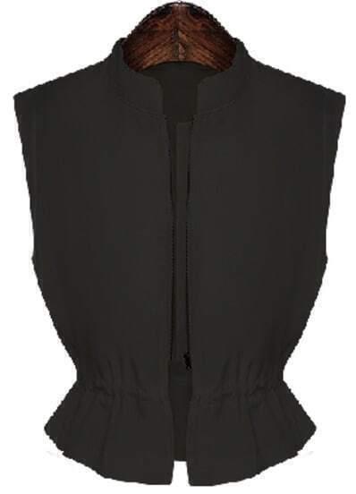 Black Stand Collar Sleeveless Zipper Top