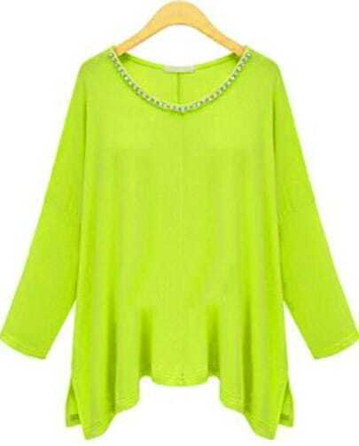 Green Long Sleeve Asymmetrical Rhinestone T-Shirt