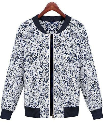 Blue Long Sleeve Floral Pockets Jacket