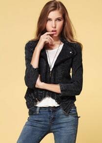 Black Long Sleeve Slim Rivet Denim Jacket