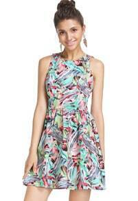 Multicolor Sleeveless Floral Hollow Dress