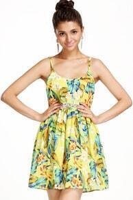Yellow Spaghetti Strap Floral Ruffle Dress
