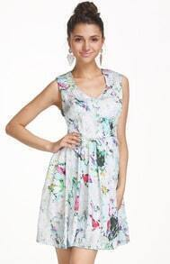 White V Neck Sleeveless Floral Pleated Dress