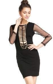 Black Sheer Long Sleeve Hollow Bodycon Dress