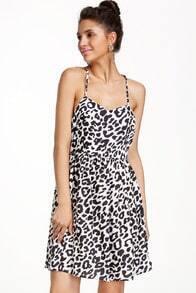 Black White Spaghetti Strap Leopard Dress