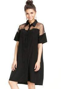 Black Contrast Sheer Short Sleeve Boyfriend Dress