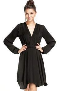 Black V Neck Long Sleeve Pleated Loose Dress