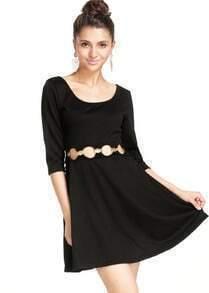 Black Half Sleeve Hollow Slim Dress