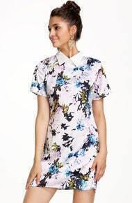 White Lapel Short Sleeve Rose Print Dress
