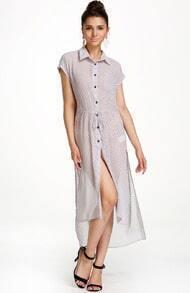 Grey Lapel Short Sleeve Polka Dot Dress