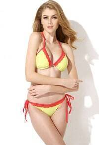 Yellow Red Lace Triangle Top With Classic Cut Bottom Bikini