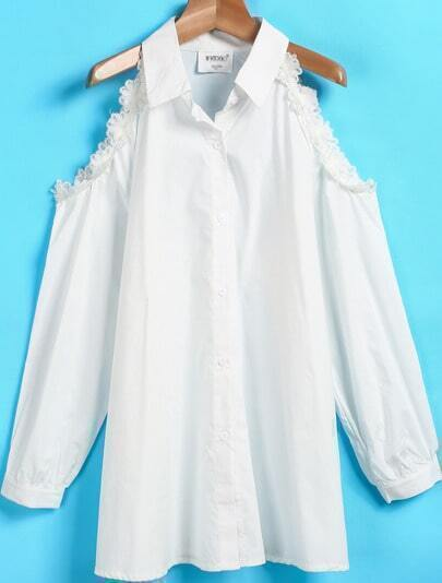 White Lapel Off the Shoulder Lace Blouse