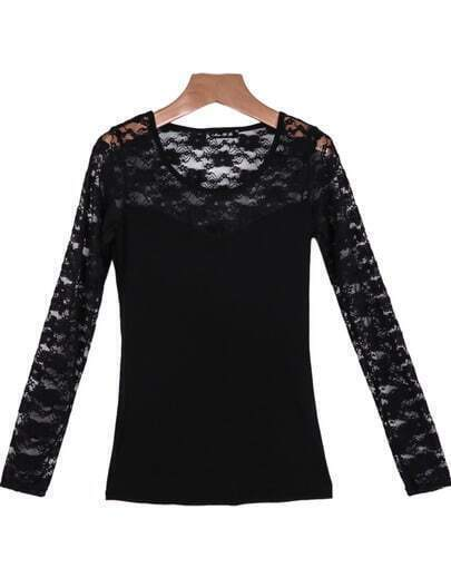 Black Long Sleeve Hollow Lace Blouse