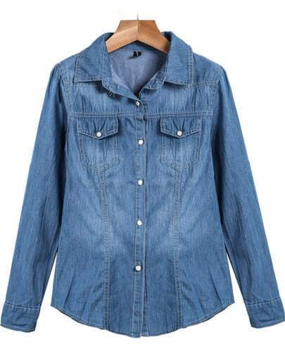 Blue Lapel Long Sleeve Classic Bleached Denim Blouse
