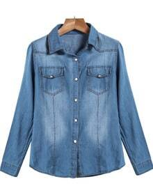 Blue Lapel Long Sleeve Bleached Pockets Denim Blouse