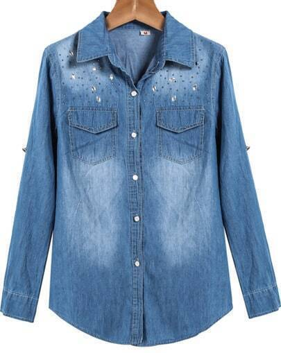 Blue Lapel Long Sleeve Rhinestone Bleached Denim Blouse