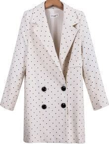 White Notch Lapel Long Sleeve Polka Dot Blazer