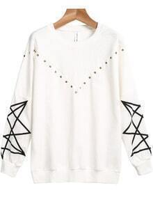 White Long Sleeve Geometric Print Rivet Sweatshirt