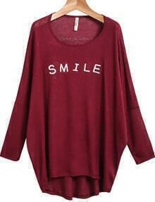 Red Long Sleeve SMILE Print Loose T-Shirt