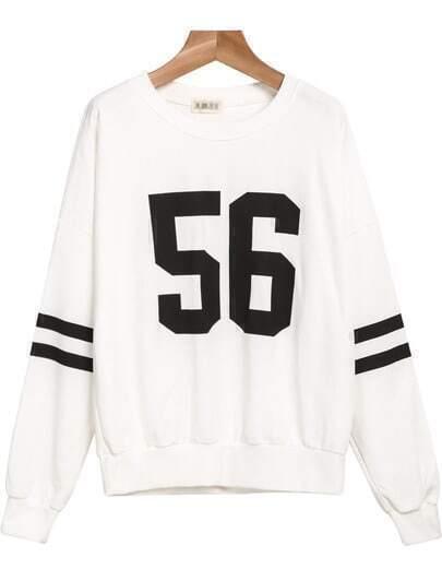 White Long Sleeve 56 Print Loose Sweatshirt