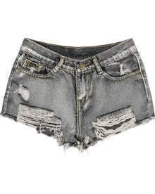 Grey Pockets Fringe Ripped Denim Shorts