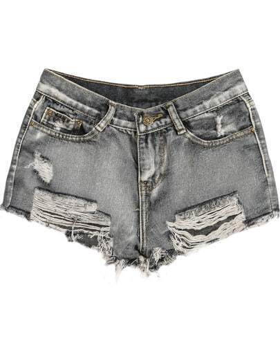 Grey Pockets Fringe Ripped Denim Shorts