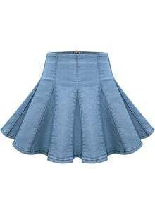 Blue Pleated Flare Denim Skirt