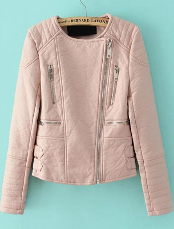 Pink Long Sleeve Zipper Crop PU Leather Jacket -SheIn(Sheinside)