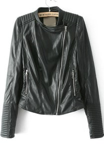 Black Long Sleeve Oblique Zipper Crop Jacket