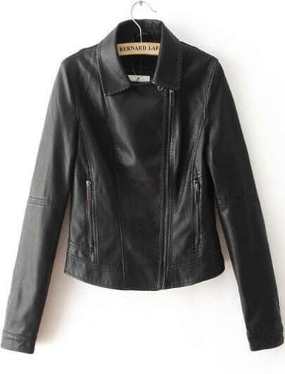 Black Lapel Long Sleeve Crop PU Jacket