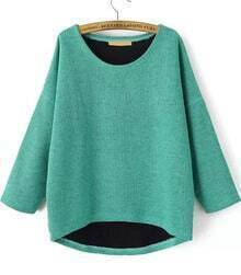 Green Round Neck Half Sleeve Knit Sweater