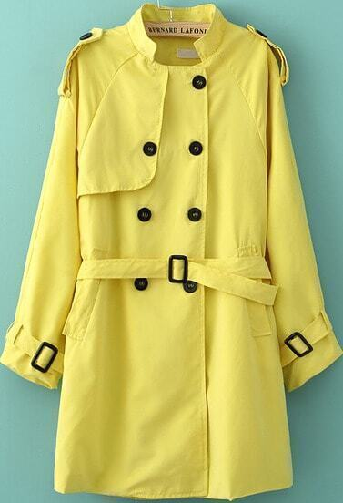 Yellow Long Sleeve Belt Buttons Trench Coat