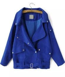 Blue Lapel Long Sleeve Buttons Coat