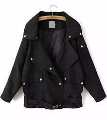 Black Lapel Long Sleeve Buttons Coat