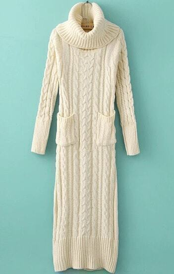 White High Neck Pockets Cable Knit Dress