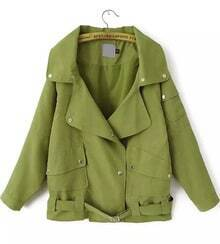 Green Lapel Long Sleeve Buttons Coat
