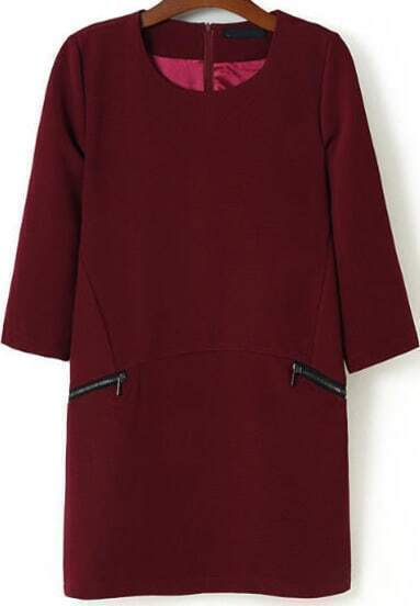 Red Round Neck Zipper Pockets Dress