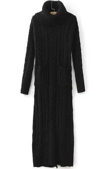 Black High Neck Pockets Cable Knit Dress