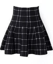 Black High Waist Plaid Flare Skirt