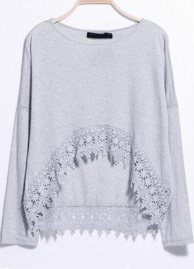 Grey Long Sleeve Lace Dipped Hem T-Shirt