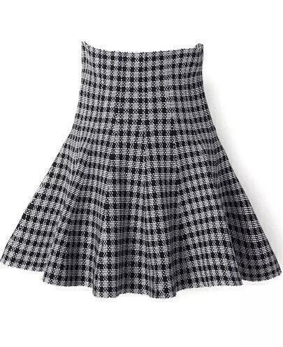 Grey High Waist Plaid Flare Skirt