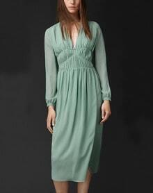 Green Long Sleeve V Neck Pleated Dress