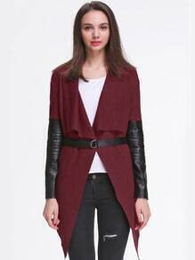 Wine Red Contrast PU Leather Asymmetric Belt Outerwear