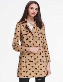 Khaki Long Sleeve Lapel Heart Print Trench Coat