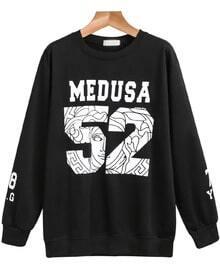 Black Long Sleeve MEDUSA 52 Print Sweatshirt