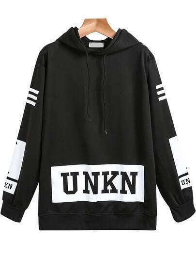 Black Hooded Long Sleeve UNKN Print Sweatshirt